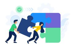 La gente collabora gli elementi di collegamento di puzzle illustrazione di stock