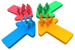 La gente collega il punto di incontro delle frecce di raduno 4 illustrazione di stock