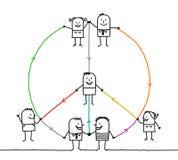 La gente collegata che fa una pace e un amore firma Immagini Stock Libere da Diritti