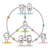 La gente collegata che fa una pace e un amore firma Immagine Stock Libera da Diritti