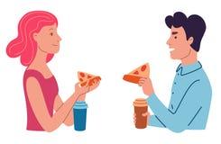 La gente come la pizza imagenes de archivo