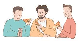 La gente come la pizza y el café de la bebida foto de archivo