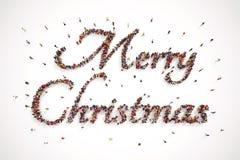 La gente compone el texto de la Feliz Navidad representación 3d ilustración del vector