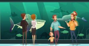 La gente in composizione in progettazione dell'acquario illustrazione vettoriale