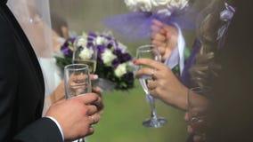 La gente comunica en un banquete con los vidrios en manos Cierre para arriba almacen de metraje de vídeo