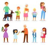 La gente con la donna di vettore dell'animale domestico o uomo e bambini che giocano con l'insieme animale dell'illustrazione del royalty illustrazione gratis