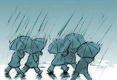 La gente con gli ombrelli Illustrazione di Stock
