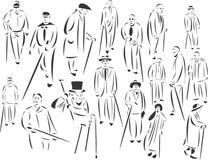 La gente con i bastoni Fotografia Stock