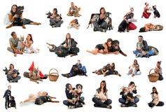 La gente con i cani Fotografia Stock