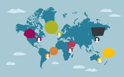 La gente con i fumetti sulla mappa di mondo Immagini Stock Libere da Diritti