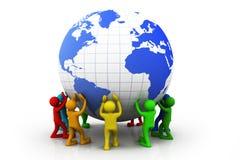 La gente con il globo del mondo royalty illustrazione gratis