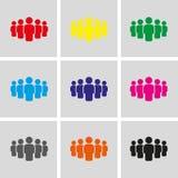 La gente con la progettazione piana dell'illustrazione di vettore delle azione dell'icona del capo Fotografia Stock