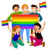 La gente con le bandiere dell'arcobaleno Immagini Stock Libere da Diritti