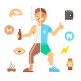 La gente con le cattive abitudini e gente in buona salute Fotografia Stock Libera da Diritti