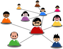 La gente conecta en medios red o negocio social Fotos de archivo libres de regalías