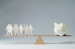 La gente contro soldi Immagine Stock Libera da Diritti