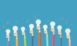 La gente creativa ed idea di lampo di genio per l'affare Immagine Stock