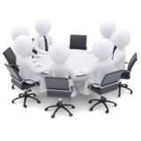 la gente 3d alla tavola rotonda. Una sedia è vuota illustrazione di stock