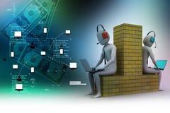 la gente 3d che lavora in computer portatile Fotografia Stock Libera da Diritti