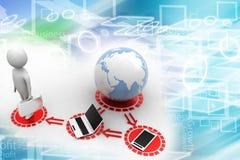 la gente 3d conectó con el ordenador portátil del globo y el teléfono móvil Imagen de archivo