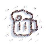 La gente 3d del pub della birra della tazza Fotografia Stock