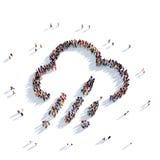 La gente 3d del tempo della nuvola Fotografie Stock Libere da Diritti