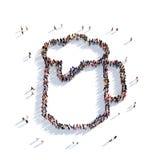 La gente 3d della tazza di birra Fotografie Stock