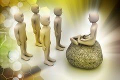 la gente 3d nella meditazione Fotografia Stock Libera da Diritti
