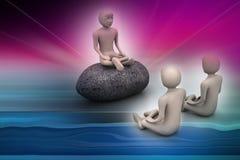 la gente 3d nella meditazione Fotografie Stock