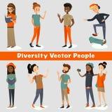 La gente de la diversidad vector el ejemplo de un grupo de adultos jovenes que hablan, sonriendo, riendo, leyendo, el viajar, tom stock de ilustración