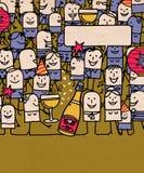 La gente de la historieta aprieta y nuevo año feliz ilustración del vector