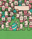 La gente de la historieta aprieta y tiempo feliz de Pascua stock de ilustración
