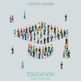 La gente de la muchedumbre de la educación total gradúa el vector plano del casquillo isométrico Imagen de archivo libre de regalías
