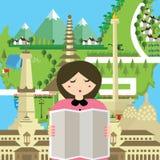 La gente de la mujer leyó el monumento de Bali Bandung Jakarta Yogyakarta del turismo de Indonesia del mapa libre illustration