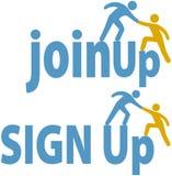 La gente de las ayudas del miembro firmar para arriba ensambla el icono de grupo Imagen de archivo libre de regalías