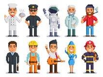 La gente de las profesiones de los caracteres del arte del pixel aisló el sistema foto de archivo