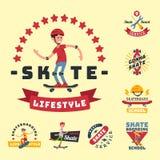 La gente de los skateres engaña vector urbano de la persona del salto de los jóvenes del active extremo de la acción de la insign Fotografía de archivo