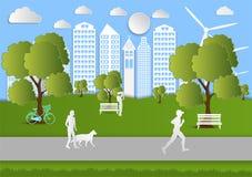 La gente de papel del arte que camina en ciudad parquea, idea de la ecología Fondo de la ilustración del vector