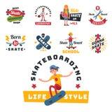La gente dei skateboarder inganna il vettore urbano della persona di salto dei giovani di skateboarding attivo estremo di azione  Immagini Stock