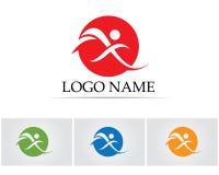 La gente del éxito de la hoja de la salud cuida la plantilla del logotipo y de los símbolos Fotos de archivo