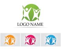 La gente del éxito de la salud cuida la plantilla del logotipo y de los símbolos Foto de archivo libre de regalías