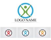 La gente del éxito de la salud cuida la plantilla del logotipo y de los símbolos Foto de archivo