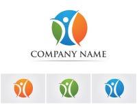 La gente del éxito de la salud cuida la plantilla del logotipo y de los símbolos Fotos de archivo libres de regalías
