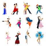 La gente del bailarín del baile vector tango plano del flamenco de la danza de vientre stock de ilustración