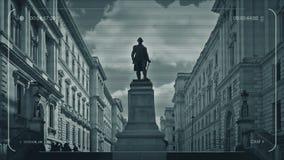 La gente del CCTV camina encima de pasos por los edificios clásicos ilustración del vector