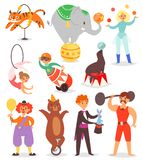 La gente del circo vector el acróbata y al payaso con los caracteres entrenados de los animales en el sistema del ejemplo de la c libre illustration