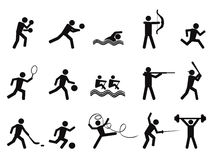 La gente del deporte siluetea el icono Fotografía de archivo