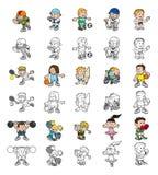La gente del fumetto che gioca gli sport Fotografia Stock