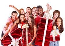 La gente del gruppo in cappello di Santa. Immagine Stock