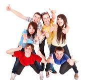 La gente del gruppo con i pollici in su. immagini stock libere da diritti